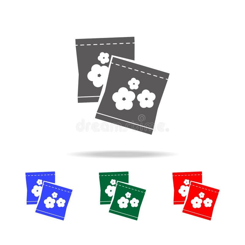 semillas de flor en icono de empaquetado Elementos del jardín en iconos coloreados multi Icono superior del diseño gráfico de la  fotos de archivo libres de regalías