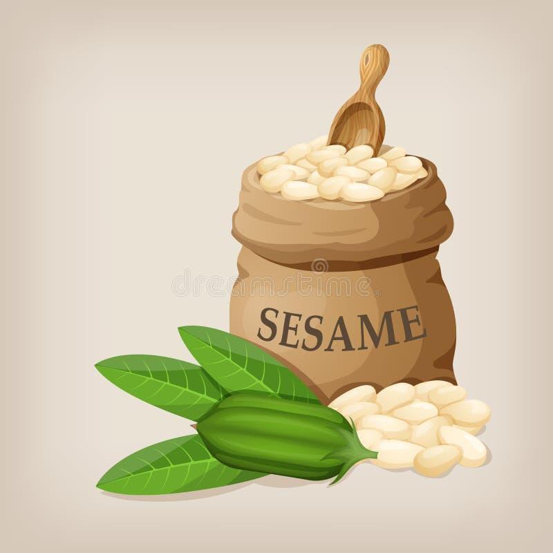 Semillas de sésamo en saco Bolso de arpillera lleno con las semillas de sésamo ilustración del vector