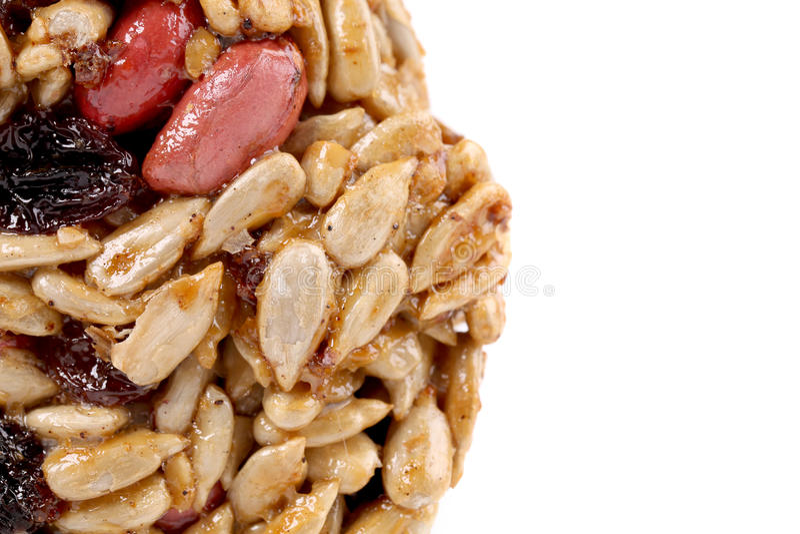 Semillas y nueces escarchadas redondas. foto de archivo