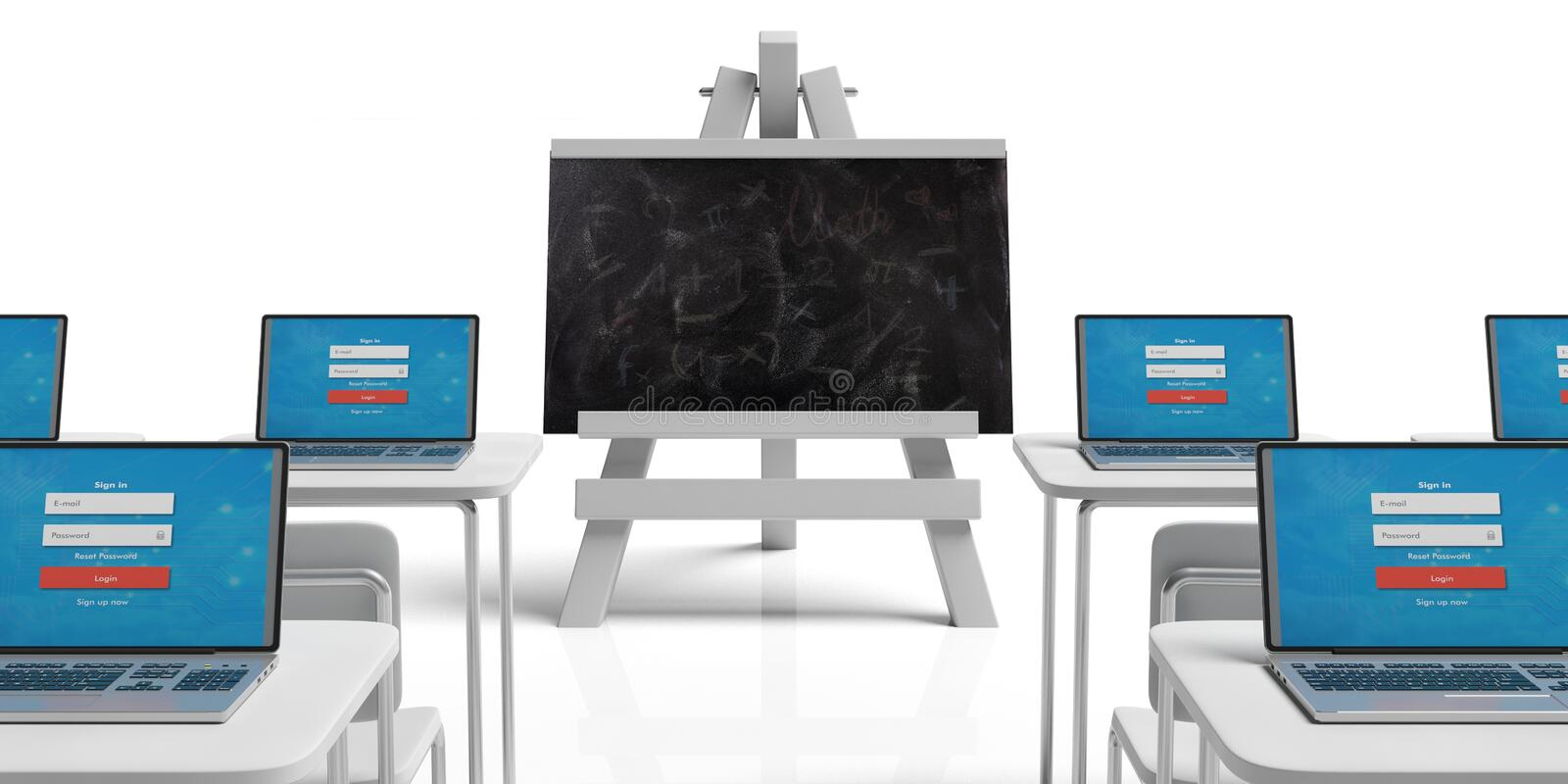 Seminar concept. Empty classroom with desks and laptops and blackboard on easel against white background stock illustration