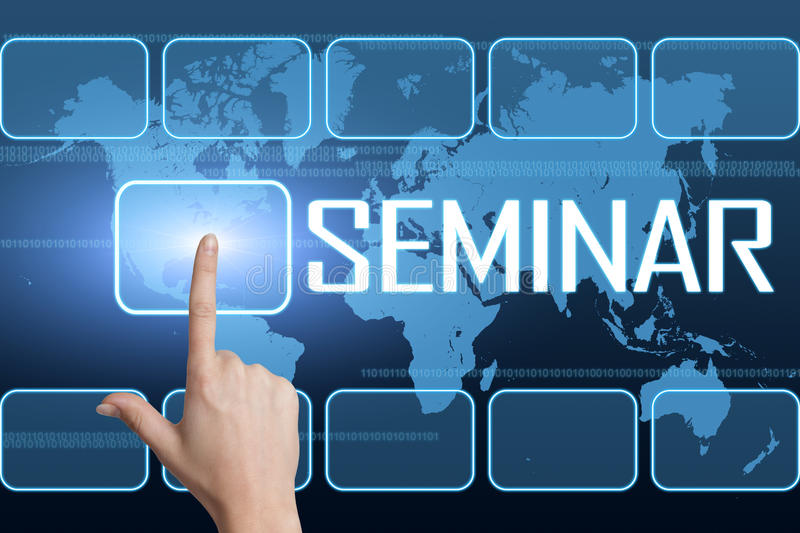Seminar. Concept with interface and world map on blue background royalty free illustration