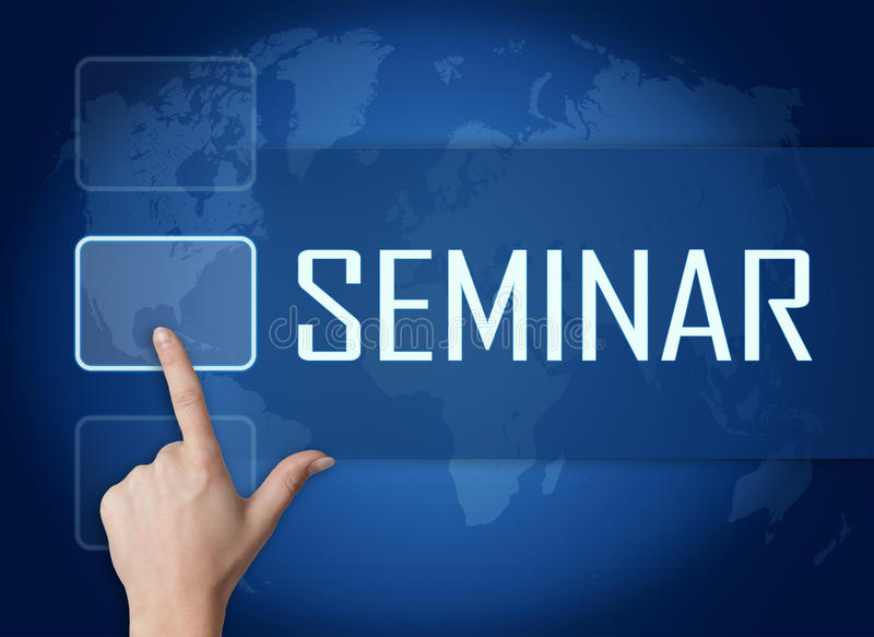 Seminar. Concept with interface and world map on blue background stock illustration