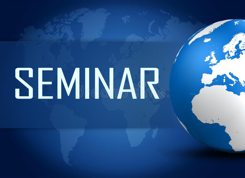Seminar. Concept with world map on blue background vector illustration