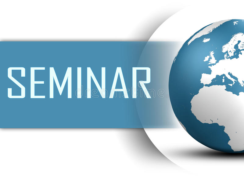 Seminar. Concept with world map on white background royalty free illustration