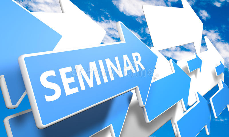 Seminar. 3d render concept with blue and white arrows flying upwards in a blue sky with clouds stock illustration
