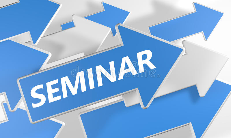 Seminar. 3d render concept with blue and white arrows flying upwards over a white background vector illustration