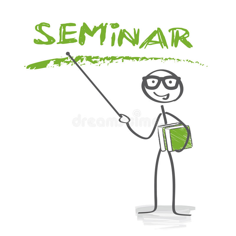 Seminar. A seminar is, generally, a form of academic instruction, either at an academic institution or offered by a commercial or professional organization royalty free illustration