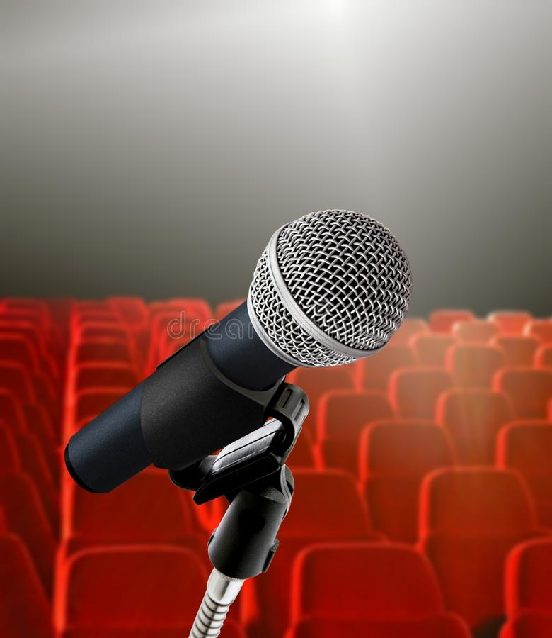 Seminar hall and microphone royalty free stock photography