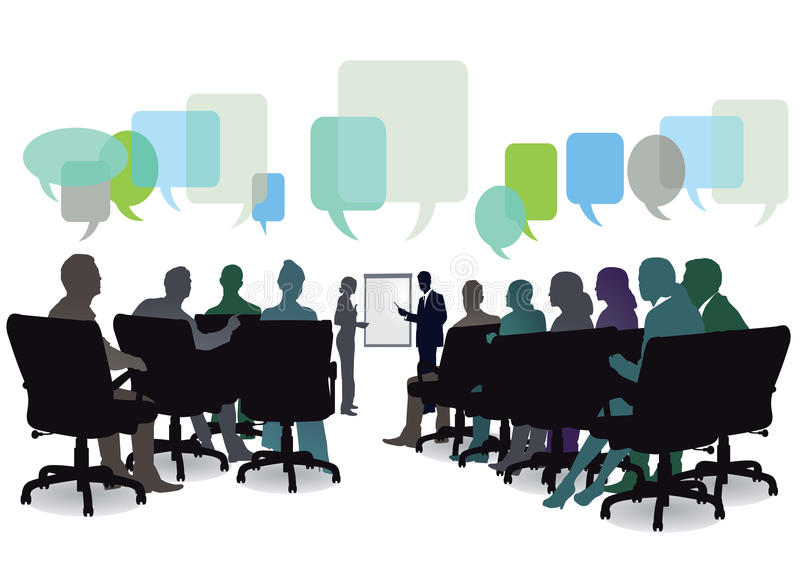 Seminar meeting. Illustration of seminar or meeting with audience seated with colorful empty speech (question) bubbles seen above, white background vector illustration