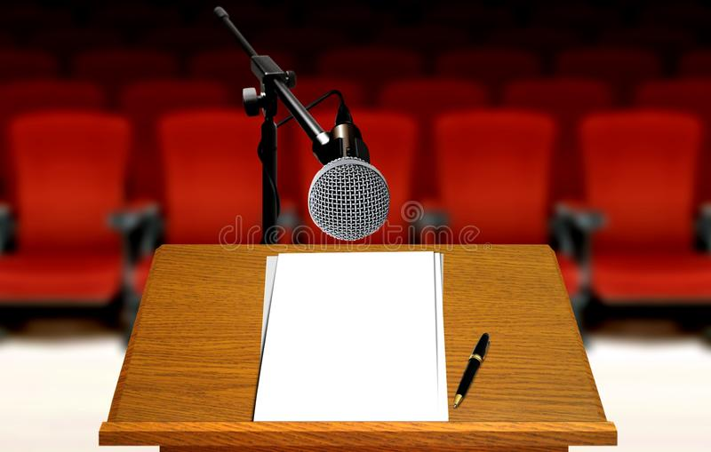 Seminar preparation with microphone and podium royalty free stock image