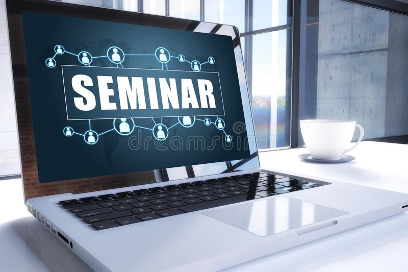 Seminar. Text on modern laptop screen in office environment. 3D render illustration business text concept royalty free illustration