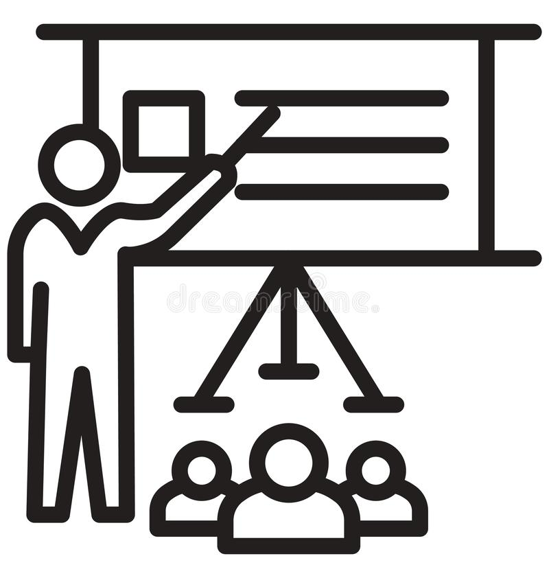 seminar, training line isolated vector icon can be easily modified and edit royalty free illustration