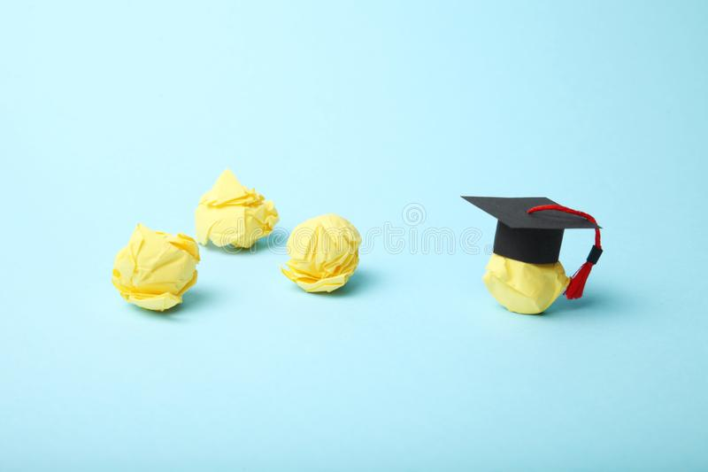 Seminar and webinar concept. People training and learn. College cap stock image