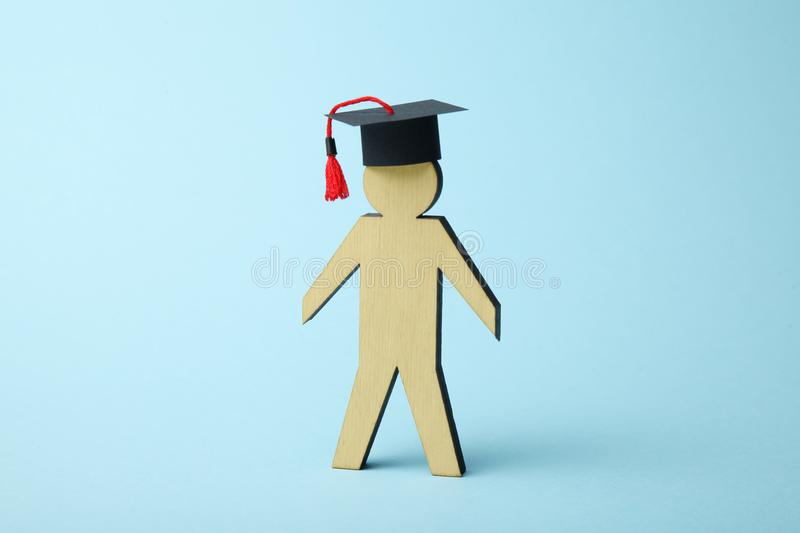 Seminar and webinar concept. People training and learn. College cap.  royalty free stock photography