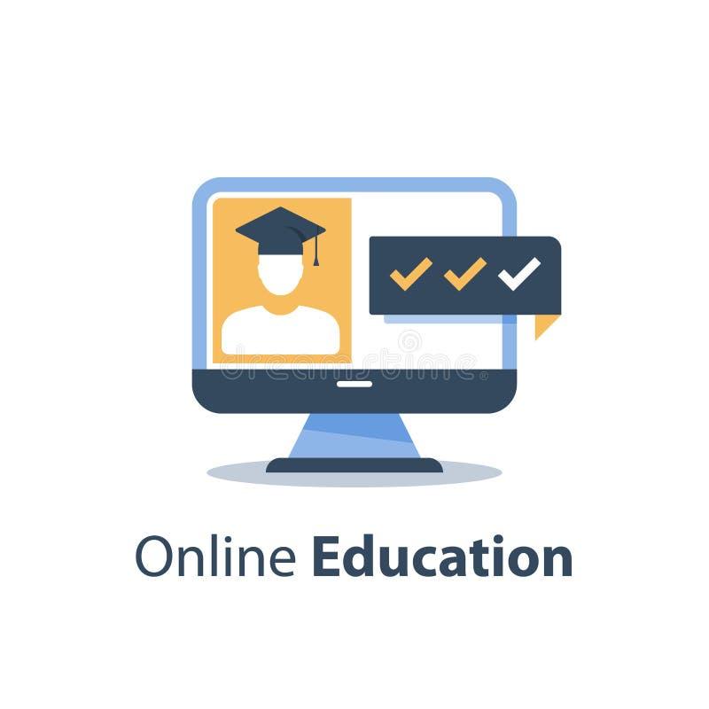 Seminario di web, corso webinar e online di istruzione, conferenza tematica, esame distante, monitor del computer e persona in ca illustrazione di stock