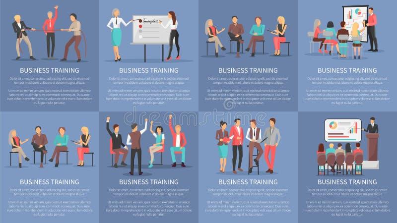 Seminarios de entrenamiento del negocio fijados de vector de los carteles stock de ilustración