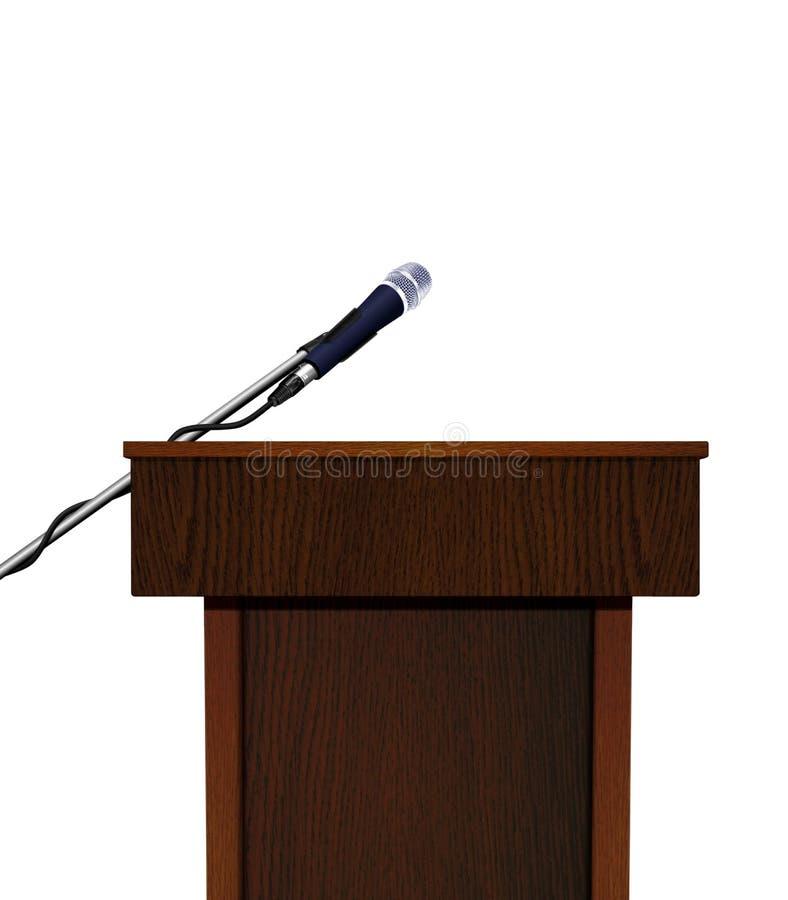 Seminariumanförandepodium och mikrofon stock illustrationer
