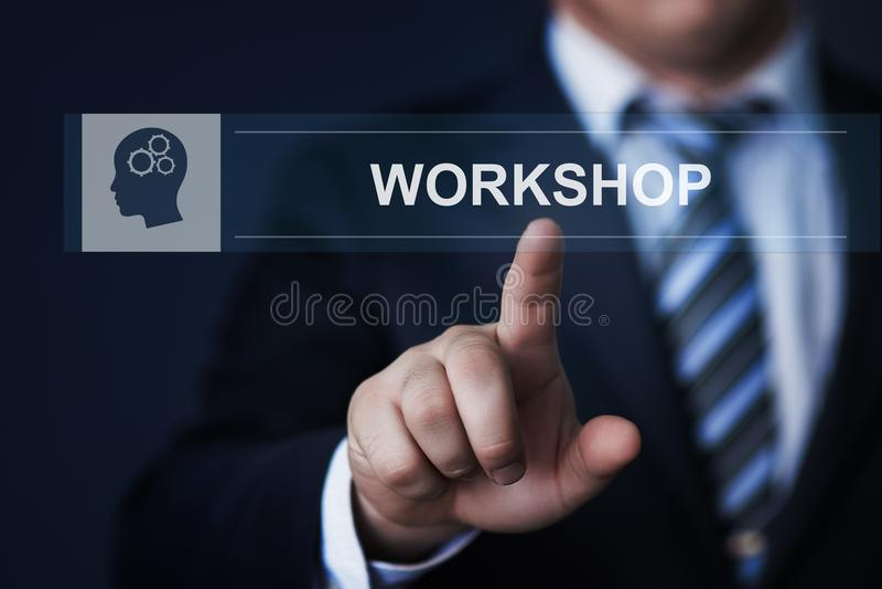 SeminariumWebinar utbildning som lär begrepp för internet för kunskapsutbildningsaffär royaltyfria foton