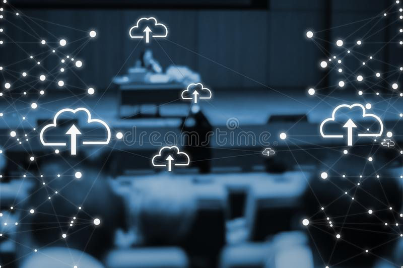 Seminars of people and businessmen in the main auditorium about cloud technology and internet of things and the large data royalty free stock image