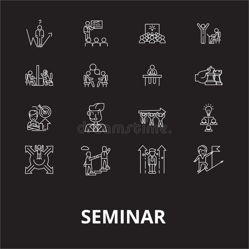 Seminaryjny editable kreskowy ikony wektorowy ustawiający na czarnym tle Seminaryjne białe kontur ilustracje, znaki, symbole royalty ilustracja