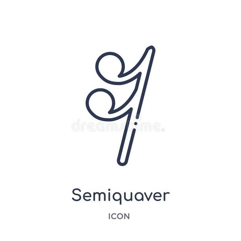 Semiquaver icon from music and media outline collection. Thin line semiquaver icon isolated on white background stock illustration