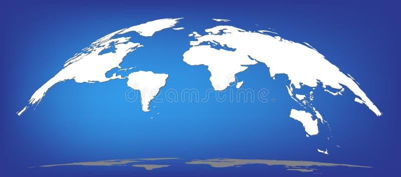 Semisphere blanco de la bóveda de la silueta del mapa del mundo stock de ilustración