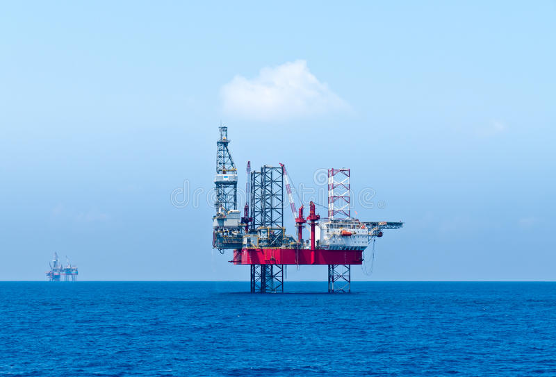 Semisubmersible drilling rigs stock photography