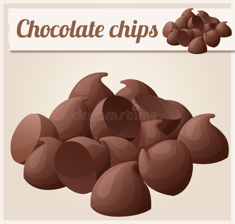 Semisweet chokladchiper Detaljerad vektorsymbol royaltyfri illustrationer