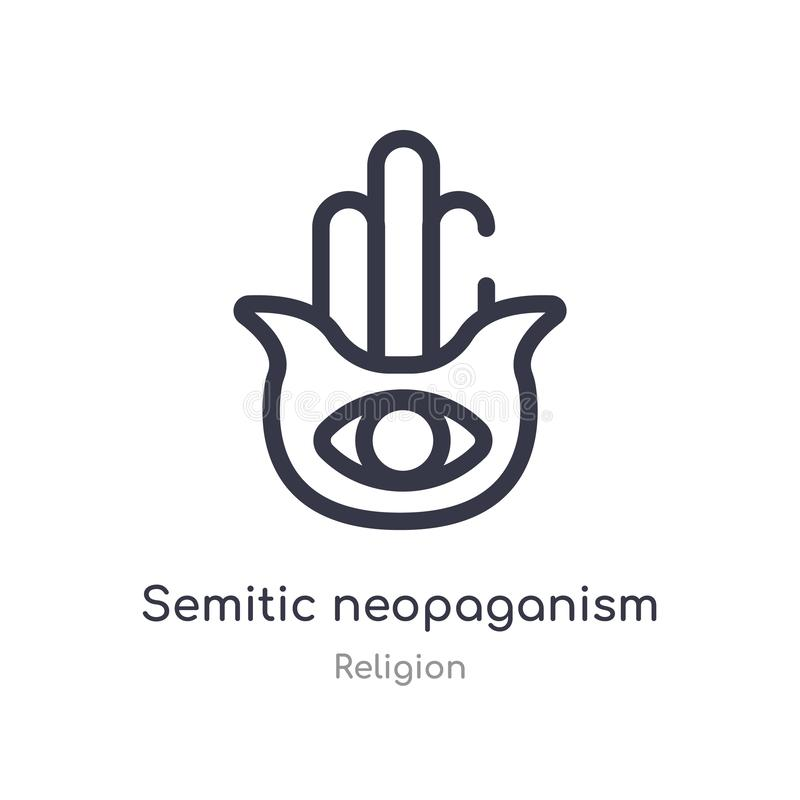 semitic neopaganismöversiktssymbol isolerad linje vektorillustration fr?n religionsamling semitic redigerbar tunn slaglängd royaltyfri illustrationer