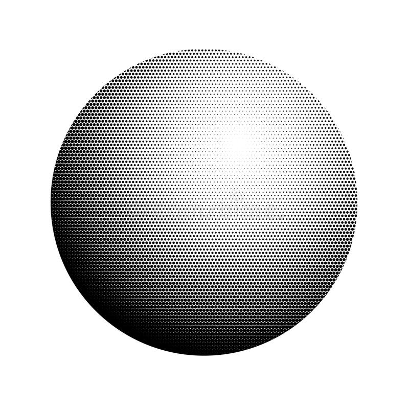 Semitono astratto, palla minimalista, cerchio su fondo bianco Forma comica di stile, stile di Pop art di semitono di pendenza ret royalty illustrazione gratis