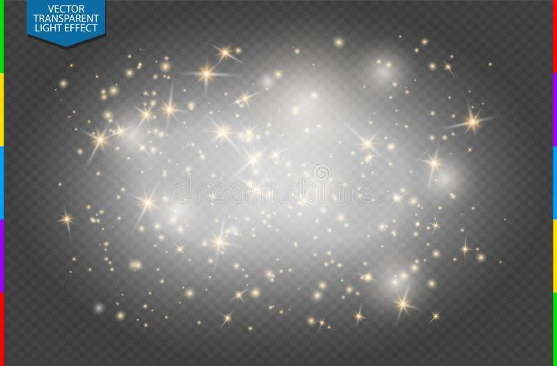 Semitransparent białych iskier złote gwiazdy połyskują specjalnego lekkiego skutek Wektor błyska przejrzystego tło ilustracji
