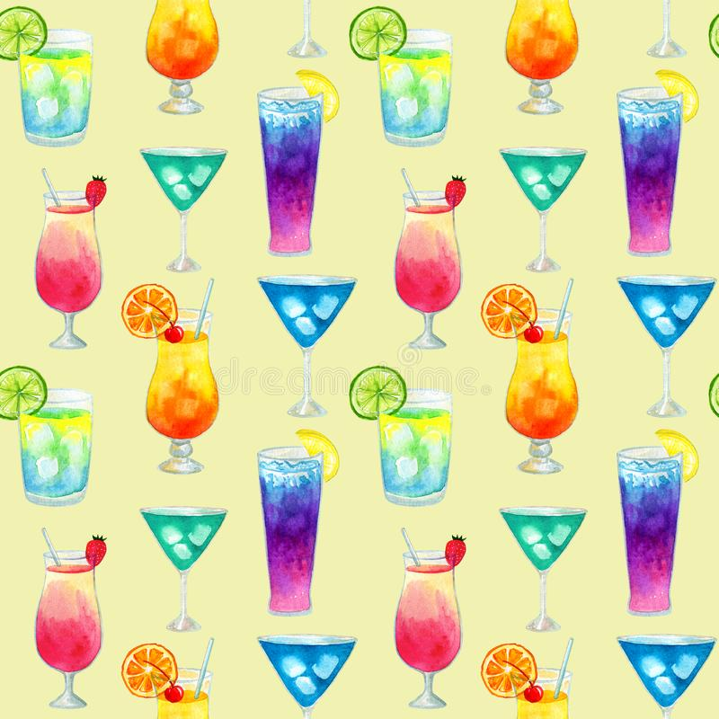Semless wzór z różnego kolorowego lata jaskrawymi koktajlami z owoc R?ka rysuj?ca akwareli ilustracja struktura obrazy royalty free