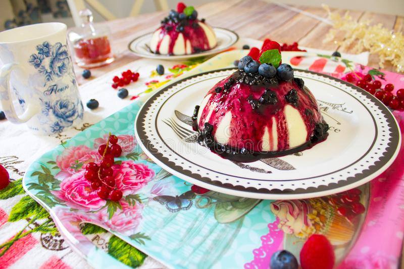 Semolina pudding with berries sauce and fresh berries stock photography