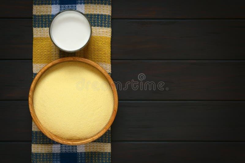 Semoule et lait crus photo libre de droits