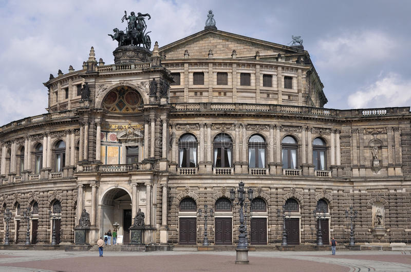 Semperoper building, dresden. The historical building of the opera house in dresden, a baroque monument completely rebuilt after the second world war damages stock images
