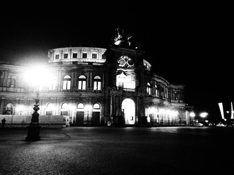 Semperoper, Dresde, Deutschland, Schwarzweiss stockfoto
