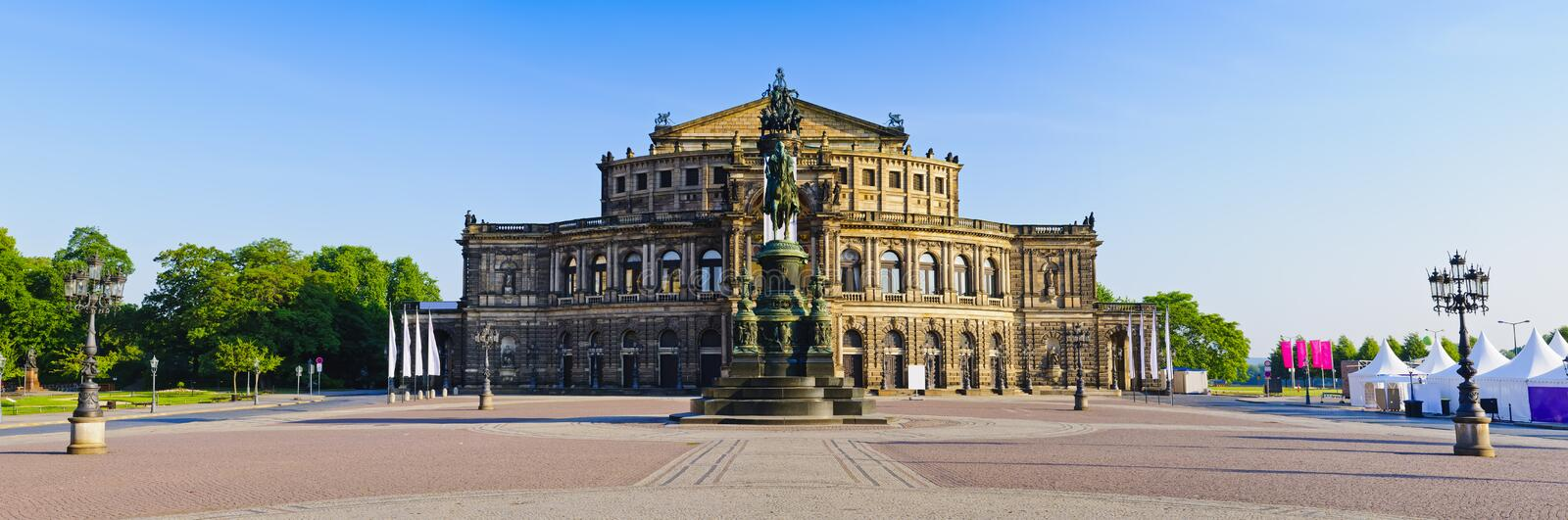 Semperoper Dresden, Germany. Panorama Semperoper (semper opera house) in Dresden, Germany royalty free stock images