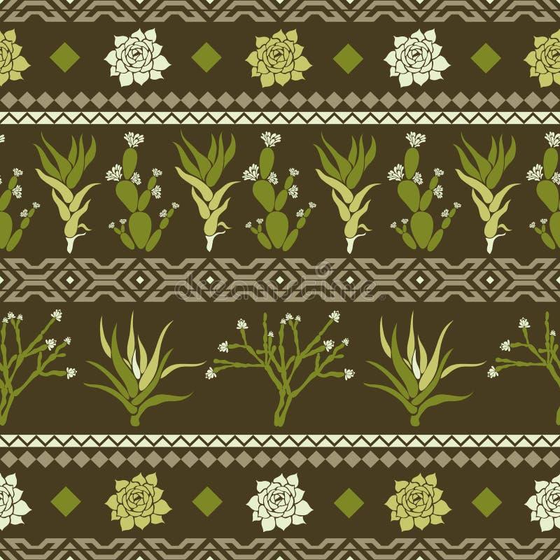 Sempervivum Haworthia, Opuntia, Hatiora Sömlös modell med kakturs, suckulenter och geometriska former i form av en romb stock illustrationer