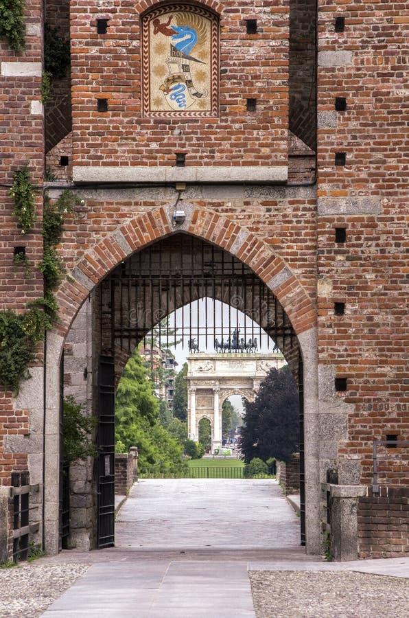 sempione ειρήνης της Ιταλίας Μιλάνο πυλών αψίδων στοκ εικόνα με δικαίωμα ελεύθερης χρήσης