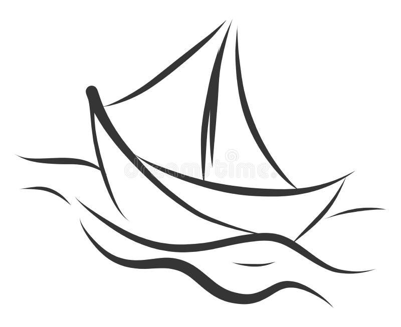 Semplice sketch in bianco e nero di un'illustrazione vettoriale della nave royalty illustrazione gratis