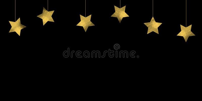 Semplice stella cadente o stelle pendenti sullo sfondo nero Sfondo natalizio royalty illustrazione gratis