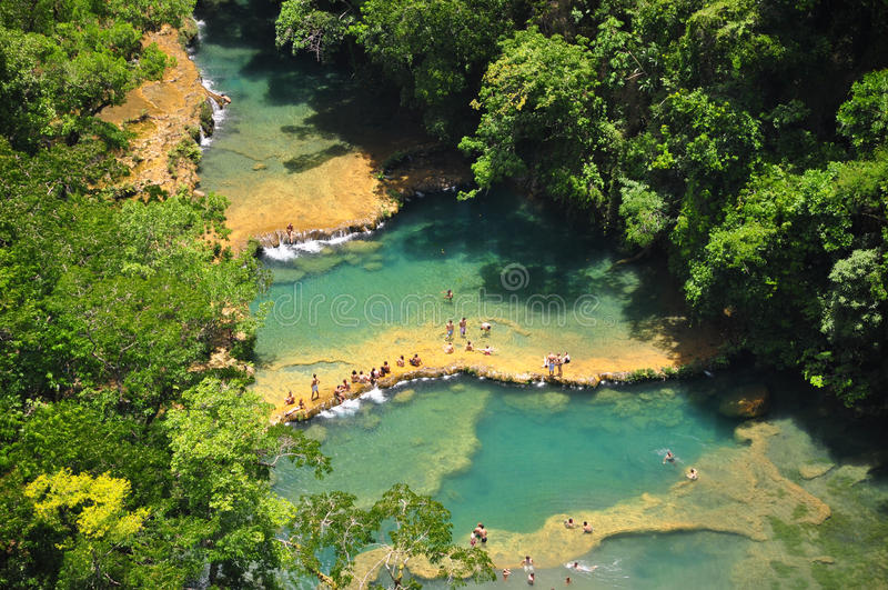 Semuc Champey, Lanquin, Γουατεμάλα, Κεντρική Αμερική στοκ φωτογραφίες
