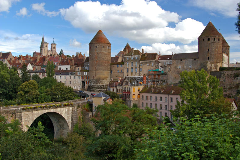 Semur-en-Auxois in Burgundy France stock photos