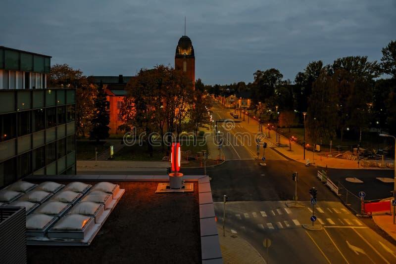 Sen afton i Joensuu, Finland arkivfoto