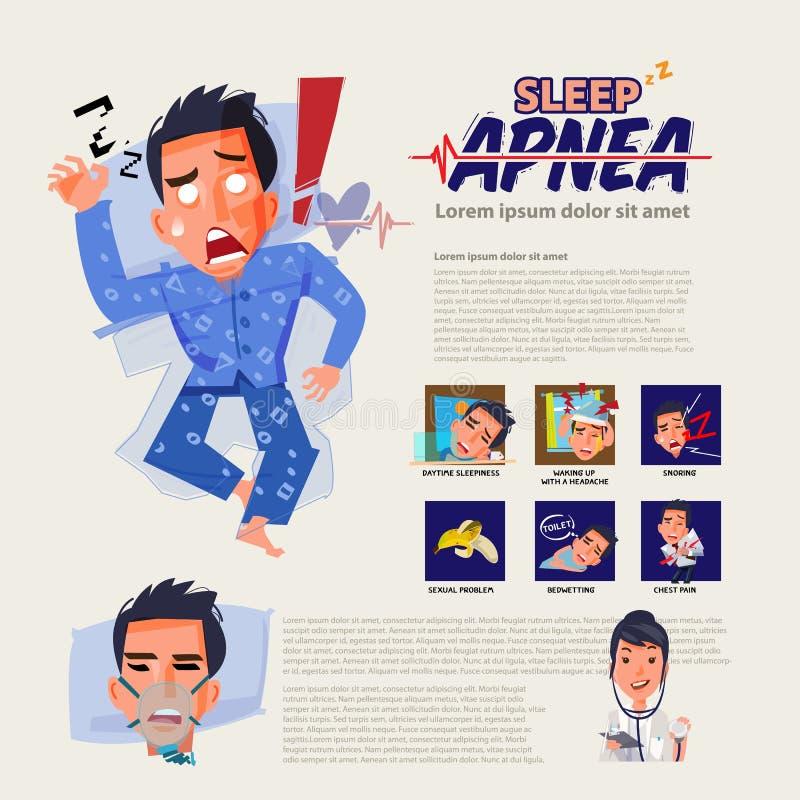 Sen apnea infographic traktowanie i dlaczego bezsenności discorder sen problemowy pojęcie - royalty ilustracja