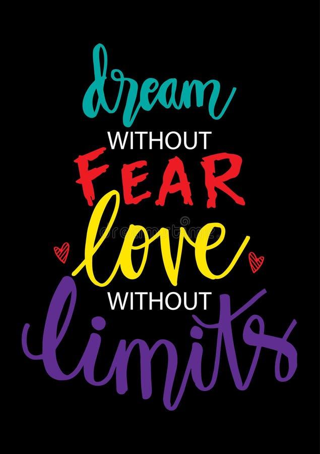 Sen bez strachu, miłość bez ograniczeń royalty ilustracja