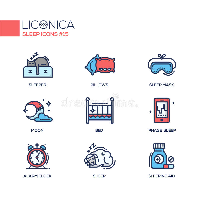 Sen - coloured nowożytne pojedynczej linii ikony ustawiać royalty ilustracja