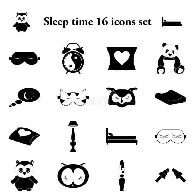 Sen czasu 16 proste ikony ustawiać royalty ilustracja