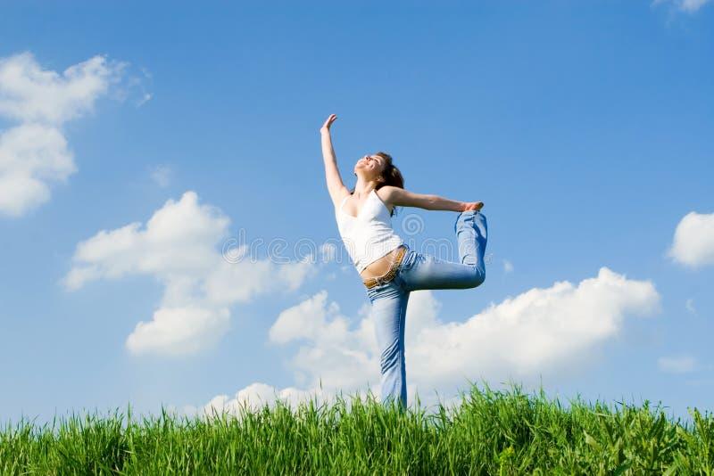 sen latają szczęśliwego wiatr kobieta zdjęcia stock