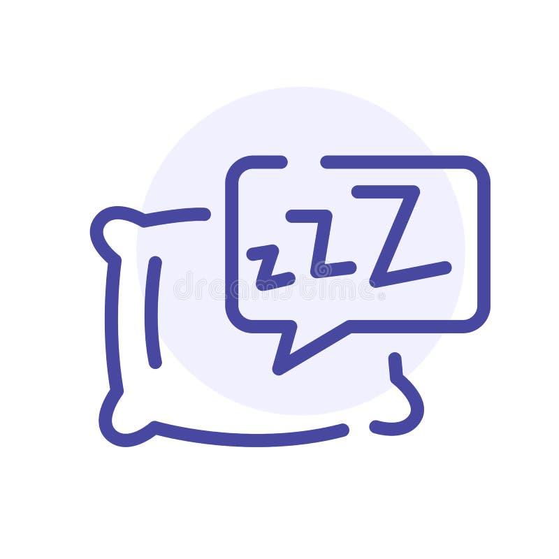 Sen poduszki linii ikona Pościel, somnology znak aqua guzika metalu stylu wektoru sieć ilustracja wektor